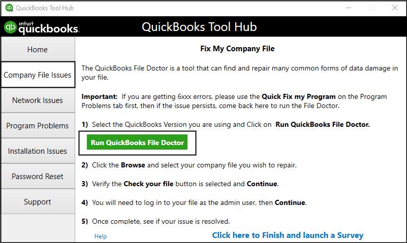 File doctor tool: Quickbooks error code 80070057