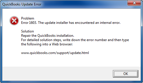 Error message: Quickbooks update error 1603