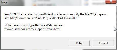 Error message: error 1321 Quickbooks
